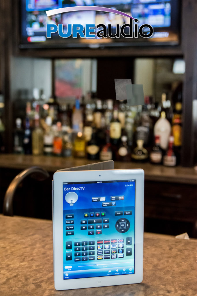 Bar DirecTV is a Tablet Remote Control App for iPads, iPhones and Android which controls Mounted TVs for Bars. Commercial Audio and Video for Medical Offices and Restaurants and Bars and Retail Shops by Pure Audio in Columbia MO