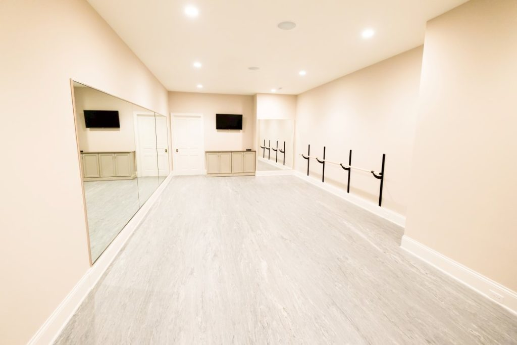 Dance Studio Audio and Video with Flatscreen TV and In-Ceiling Speakers with Hidden Components controlled from iPhone or iPad App Pure Audio in Columbia