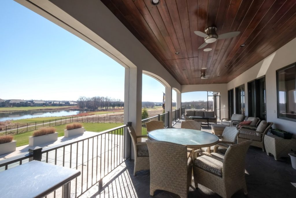 Disappearing Television TV Recessed into Wood Paneled Ceiling with Motorized Mount on Exterior Outdoor Deck Patio Pure Audio and Video Columbia, MO