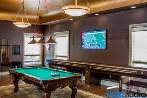 Flat Screen TV and Hidden In-Wall Speakers for a Billiard Game Room Commercial Audio and Video Installation by Pure Audio in Columbia MO